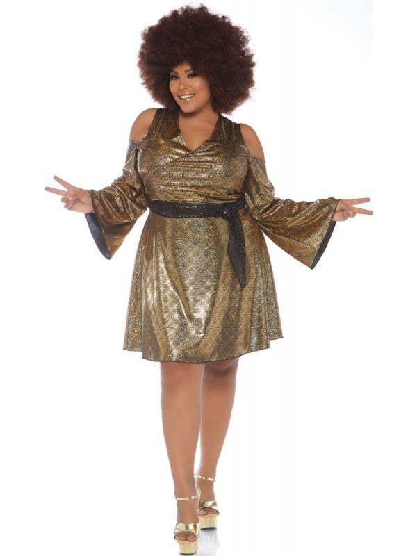 Plus Size Women's 1970's Disco Doll Fancy Dress Costume Front Image