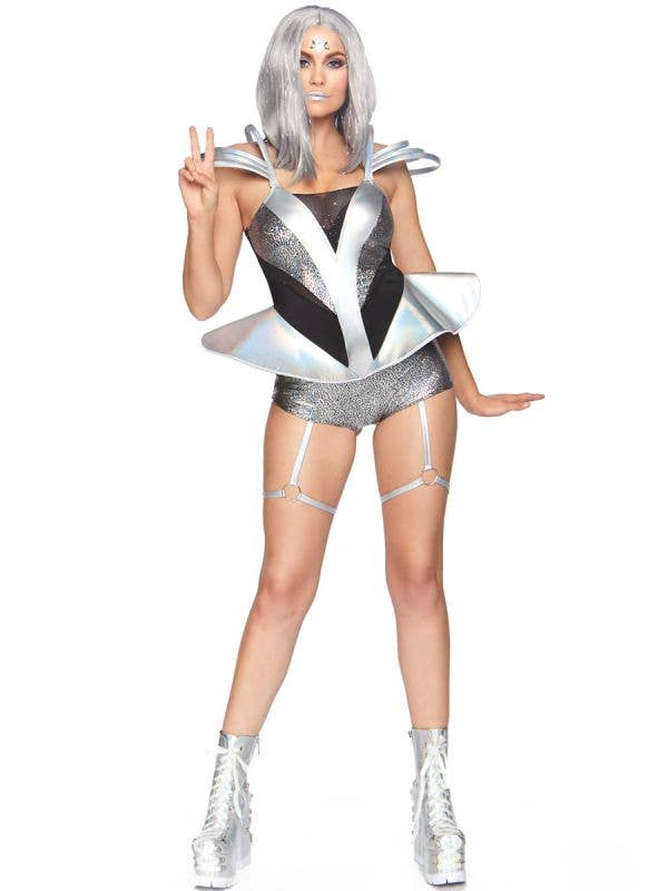 Women's Sexy Silver Space Cadet Fancy Dress Costume Front Image