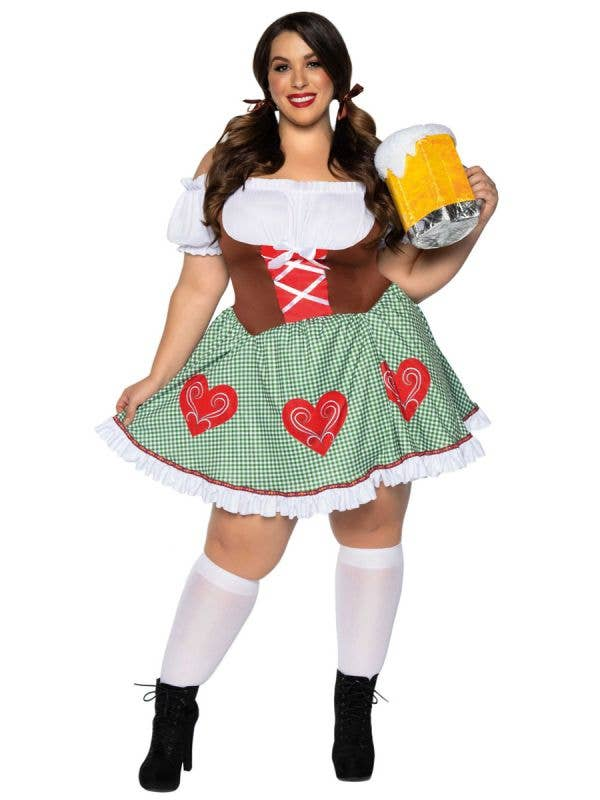 Plus Size Women's Green and Brown Oktoberfest Costume - Front Image