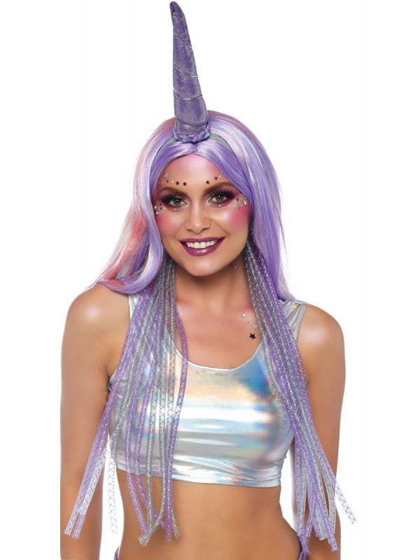 Women's Shimmer Purple Unicorn Horn On Headband With Mane