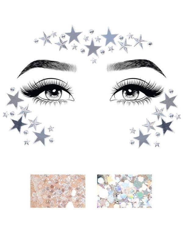 Silver Stars Self Adhesive Face Gems and Body Glitter