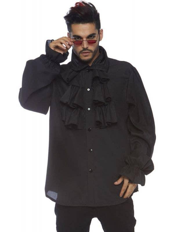 Men's Black Victorian Vampire Ruffled Halloween Costume Shirt Main Image