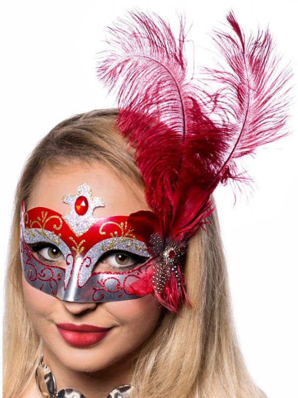 Silver Glitter Masquerade Mask with Red & Gold Swirls and Side Feathers View 1