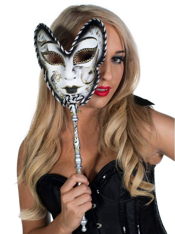 Black And White Hand Held Carnivale Masquerade Mask Main View