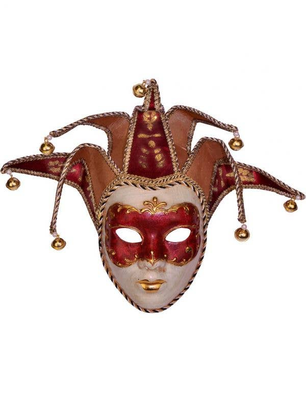 Adults Deluxe Red Full Face Jester Masquerade Mask Main Image