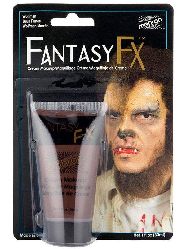 Wolfman Dark Brown Mehron Fantasy FX Cream Costume Makeup - Front Image