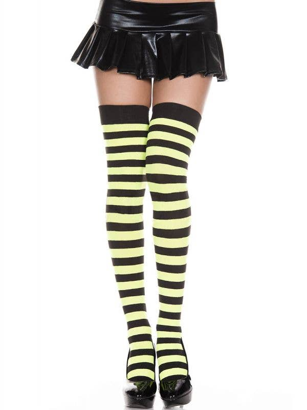 Women's Sexy Green And Black Thigh High Costume Stockings