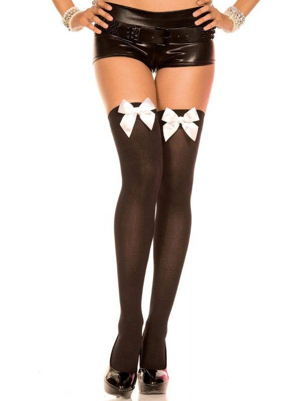 Music Legs Thigh High Black Stockings with White Bows Main Image