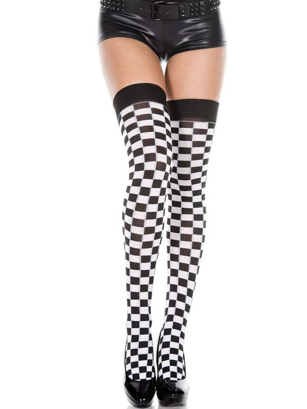 Thigh High Black and White Chequered Stockings for Women