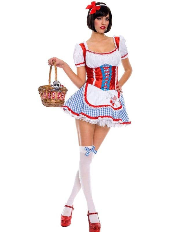 Wizard of Oz Sexy Dorothy Blue White and Red Fancy Dress Costume Front Image