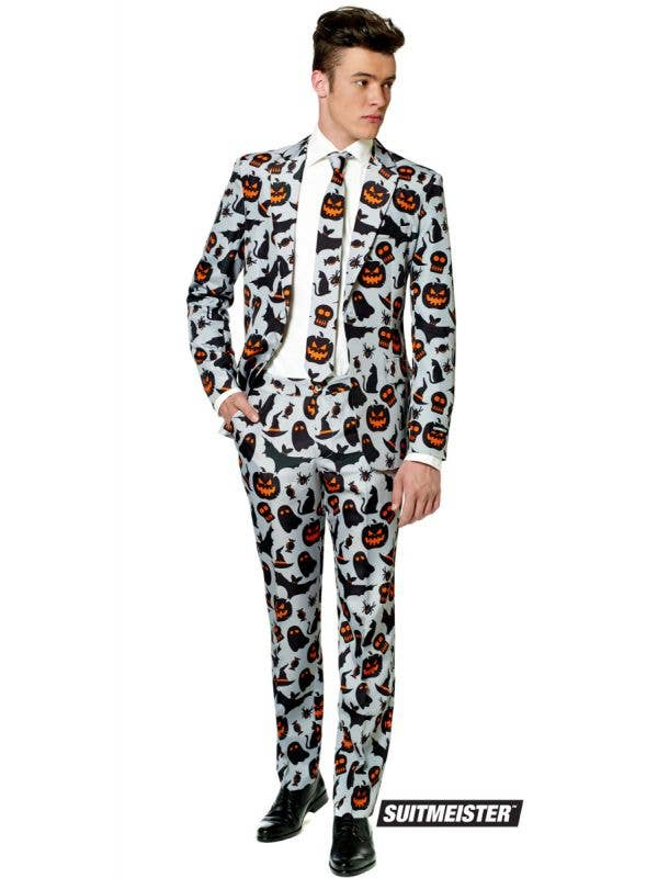 Men's Halloween Grey Spooky Print Novelty Suitmeister Suit Main Image