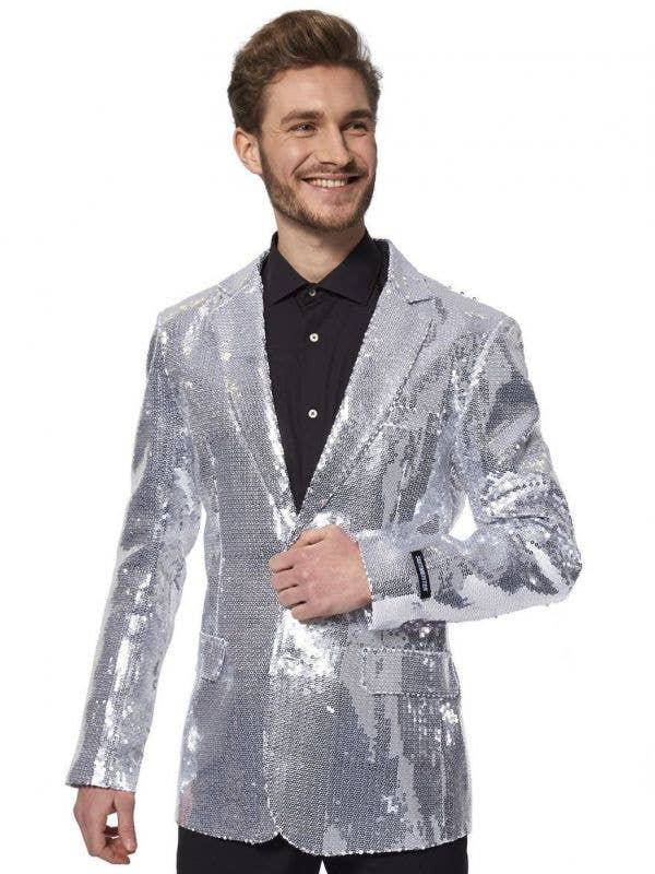 Silver Sequinned Costume Jacket for Men - Main Image