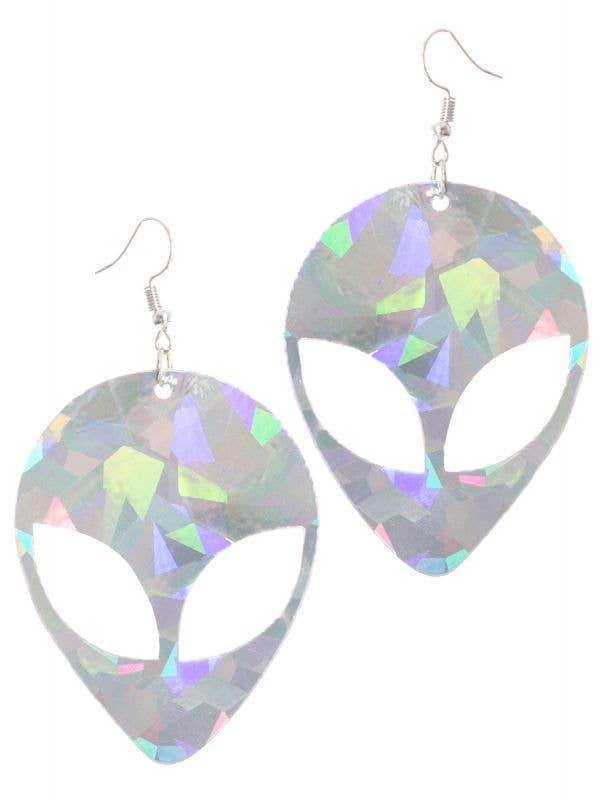 Silver Space Alien Costume Earrings