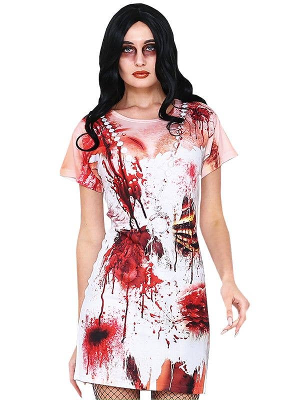 Zombie Women's Blood Splattered Halloween Costume - Main Image