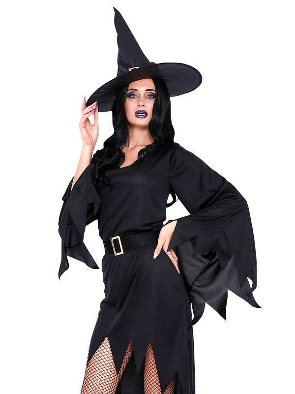 Classic Black Sexy Witch Halloween Costume for Women - Main Image