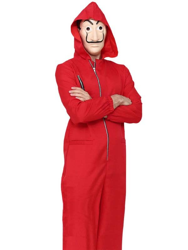 Adult's Red Money Heist Inspired Costume Jumpsuit with Dali Mask - Main Image