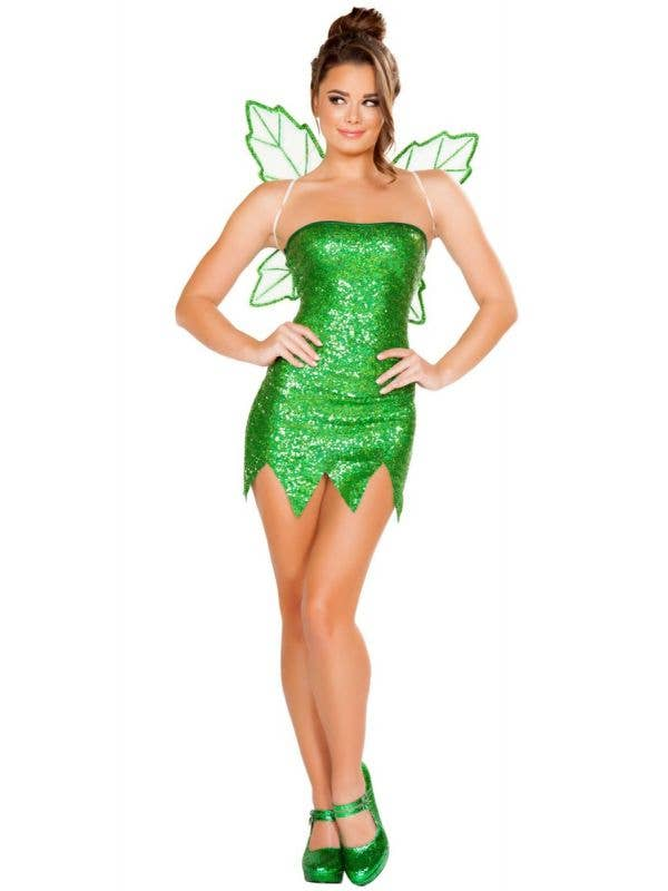 Sparkly Tinkerbell Mischievous Fairy Sequin Dress Main Image