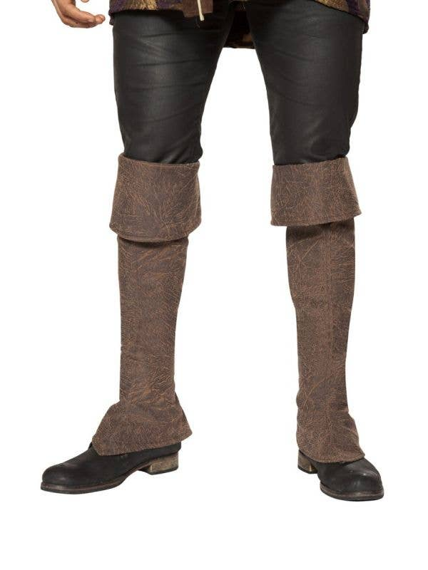 Brown Fabric Leather Look Pirate Boot Covers With Zip Main Image