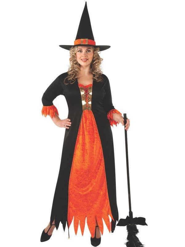 Plus Size Orange Witch Costume for Women - Main Image