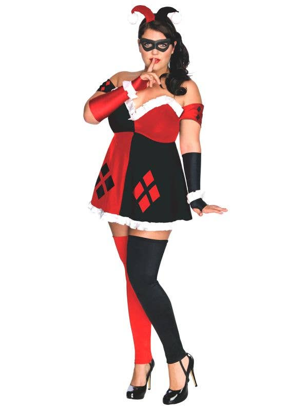 Classic Black and Red Harley Quinn Costume for Plus Size Women