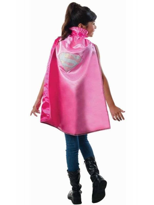 Girl's Pink Supergirl Superhero Costume Cape
