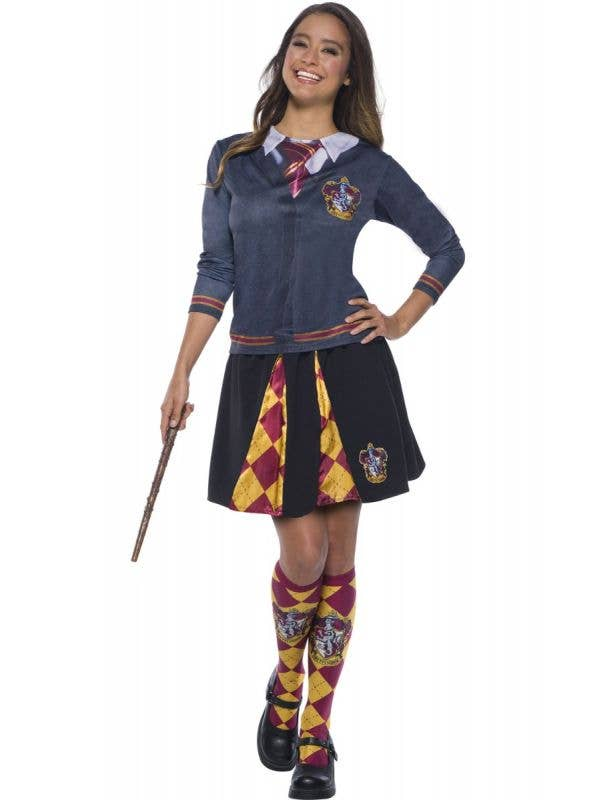 Women's Grey Harry Potter Gryffindor Long Sleeve Costume Shirt Top Main Image