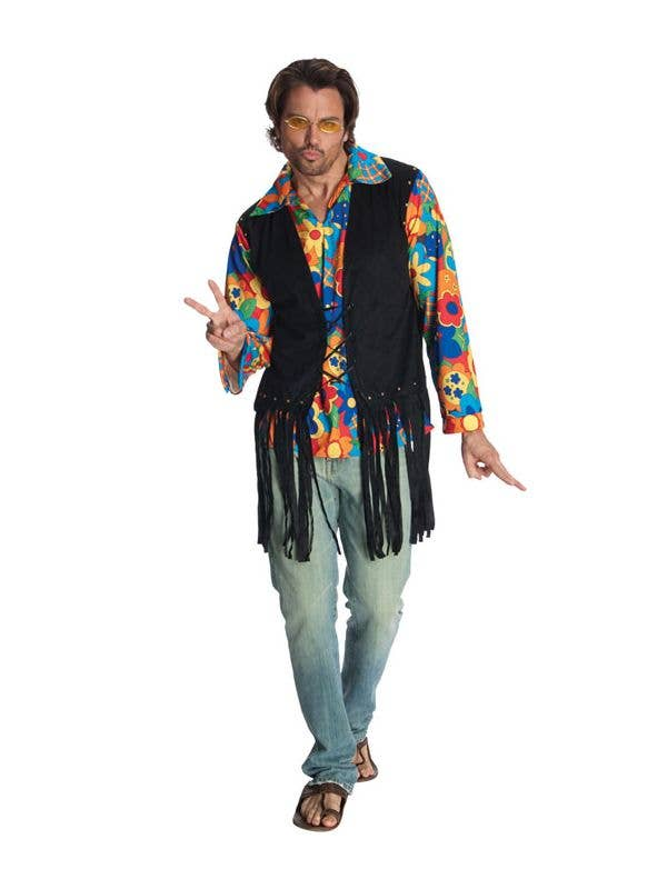60s 70s ROCKSTAR GUY HIPPIE RETRO DAD ADULT MENS FANCY DRESS HALLOWEEN COSTUME