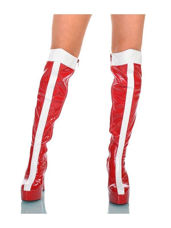 Ladies Wonder Woman Red White Superhero Red Boots Knee High Shoes Footware