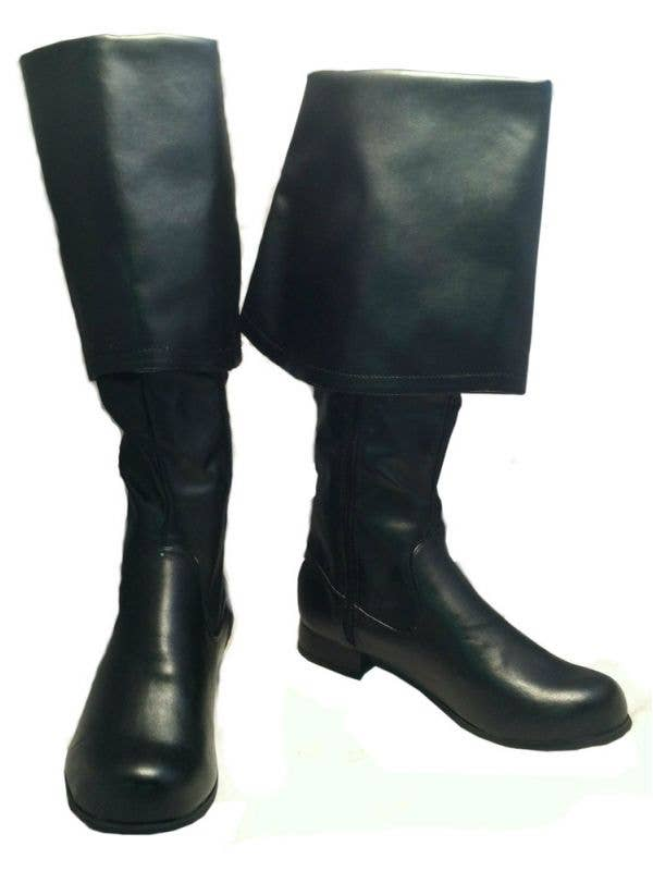 Men's Basic Black Pirate Boots Costume Accesory