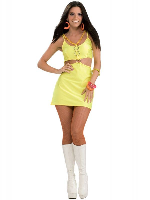 Womens 60s Holly-Go-Brightly Go-Go Dancer Groovy Yellow Costume Dress Main Image