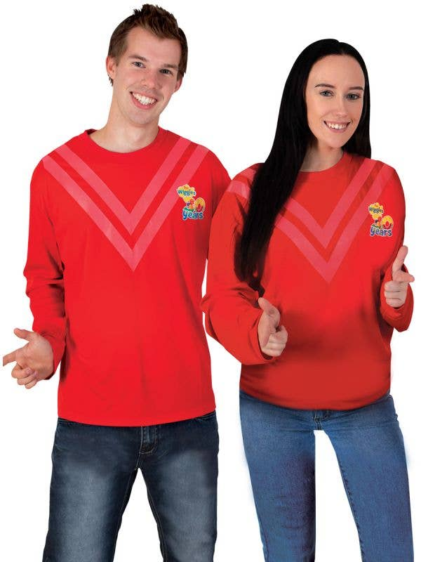 Adult's Long Sleeve Red Wiggle Shirt - Main Image