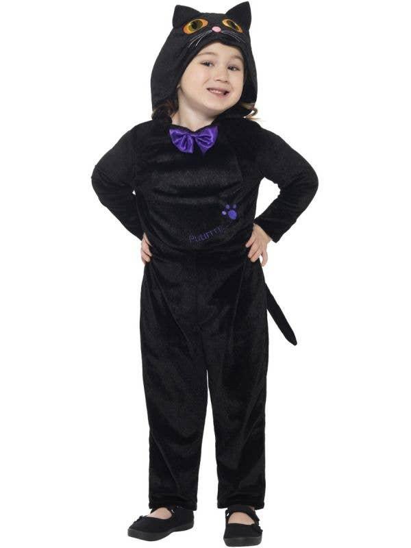 Toddler Girls Cute Black Cat Halloween Fancy Dress Costume Front Image