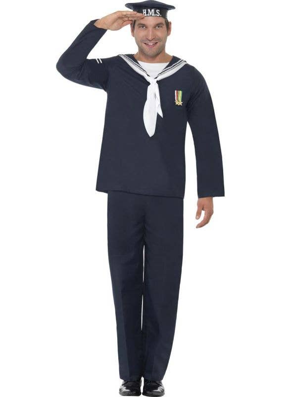Mens 1940s WW2 Navy Sailor Fancy Dress Costume Military Uniform - Main Image