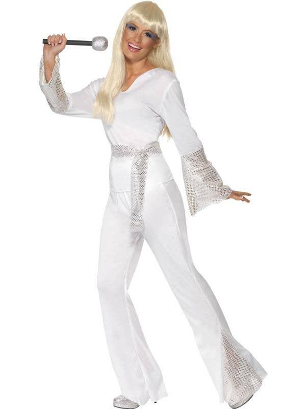 70s Disco Dancer Women's White ABBA Fancy Dress - Front View