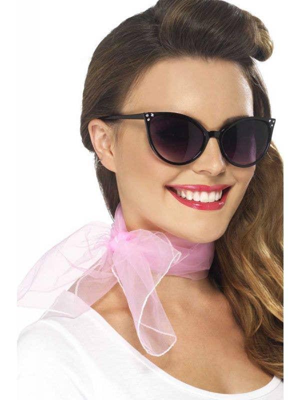 Womens Pink Chiffon 50s Dress Up Neck Scarf Costume Accessory