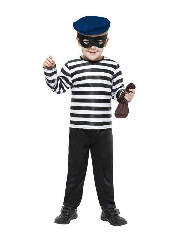 Mens Cat Burglar Thief Bank Robber Fancy Dress Costume Convict Outfit