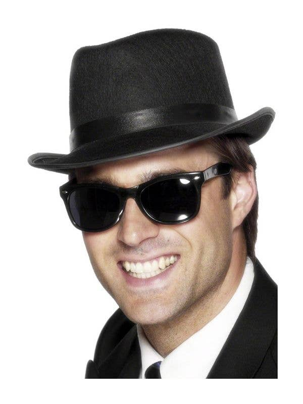 50's Style Black Frame Costume Glasses with Black Lenses Main Image Image
