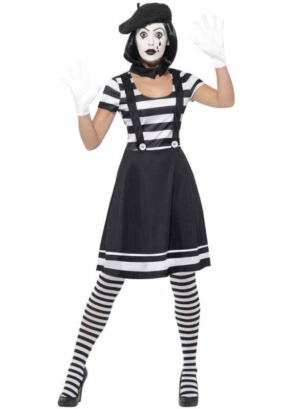 Women's Black And White French Mime Clown Halloween Fancy Dress Costume Main Image