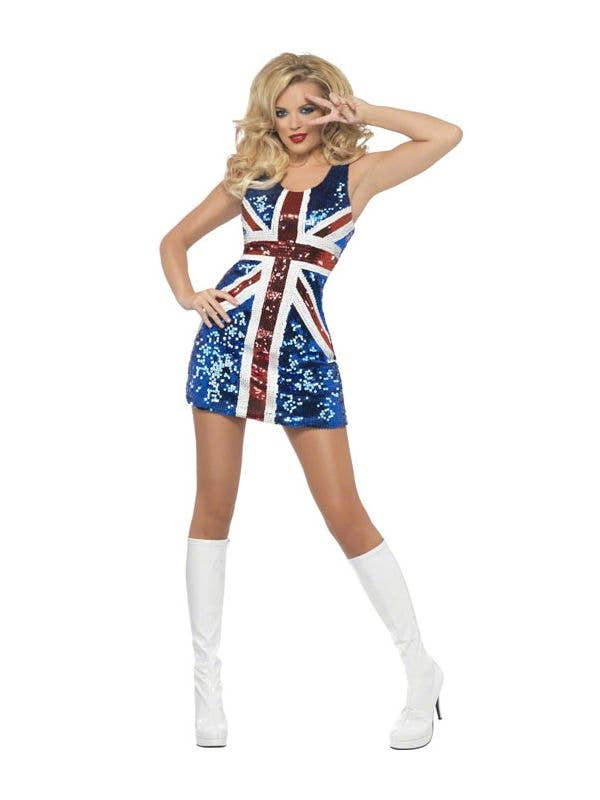 British Flag Sequin Dress Costume Womens