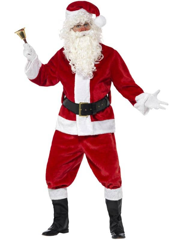 Adult's Red Plush Father Christmas Santa Claus Fancy Dress Costume Main Image
