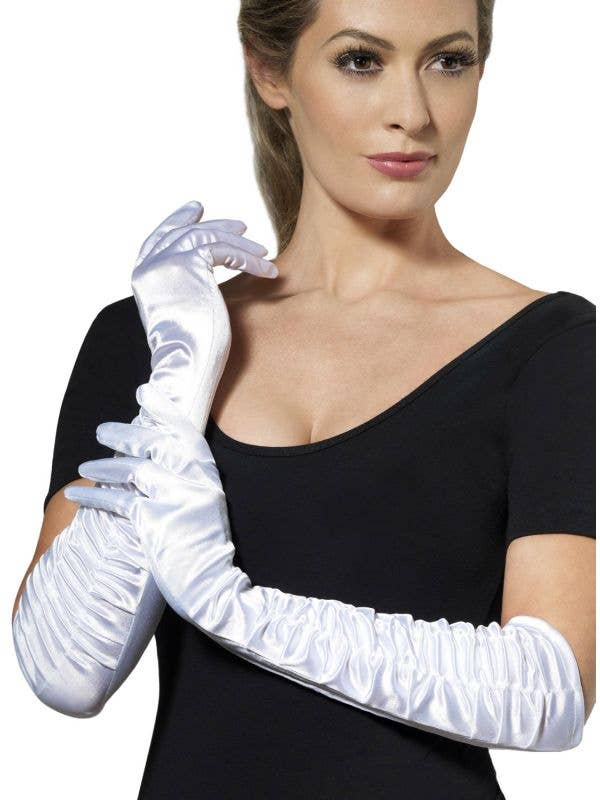 White Deluxe Satin Elbow Length Gloves With Side Ruching - Main Image