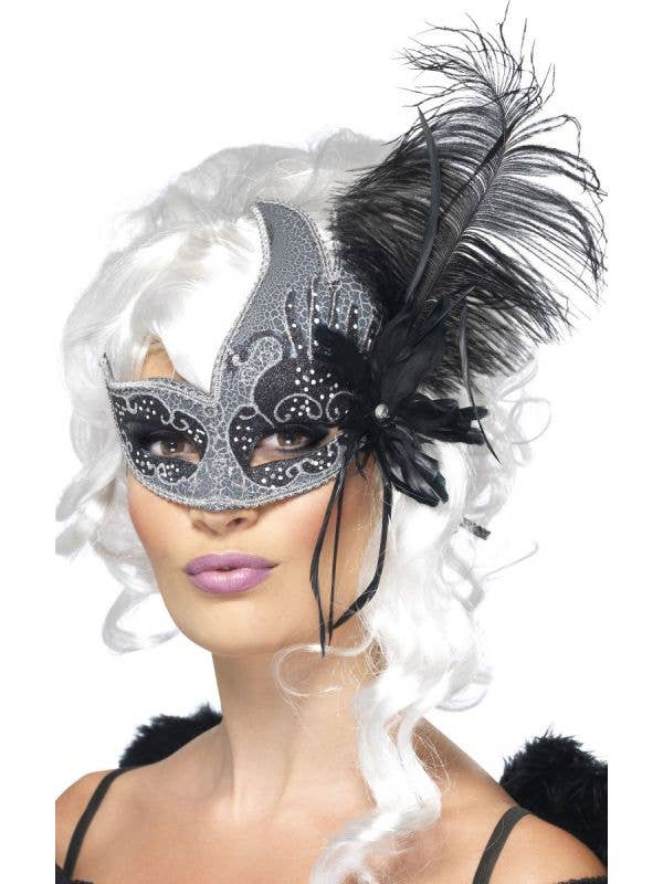 Dark Angel Mask with Feathers - Main Image