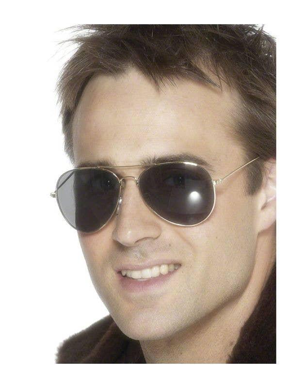 Gold Framed Aviator Costume Sunglasses