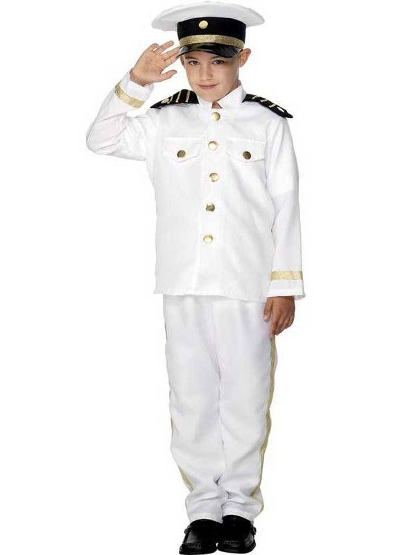 ADULTS BLACK SAILORS HAT WHITE BEARD NAVY CAPTAIN MARINE OFFICER FANCY DRESS
