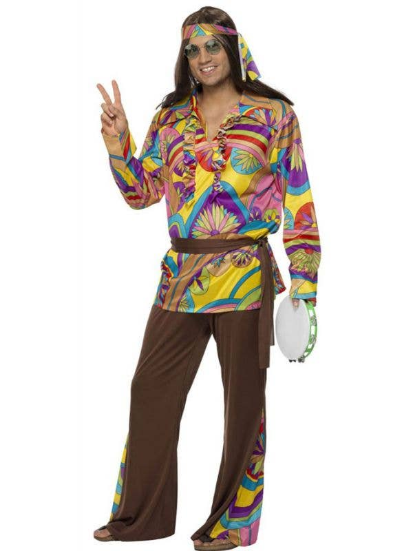 Multicoloured Psychedelic 1970s Hippie Man Costume - Front Image