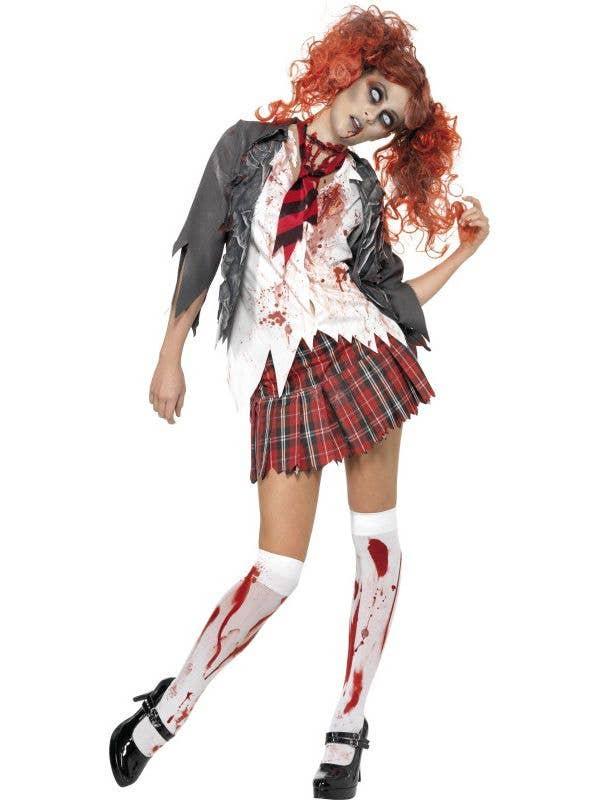 Horror Women's Sexy High School Zombie Schoolgirl Halloween Costume Front View
