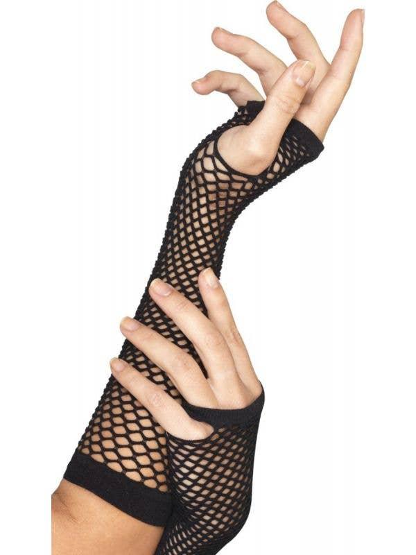 Women's 1980s Fashion Black Fishnet Fingerless Long Costume Gloves - Main Image