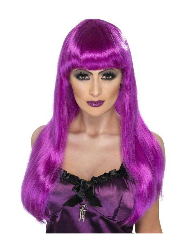 Glamor Witch Wig Black And Purple Wig Glamour Halloween Fancy Dress Costume