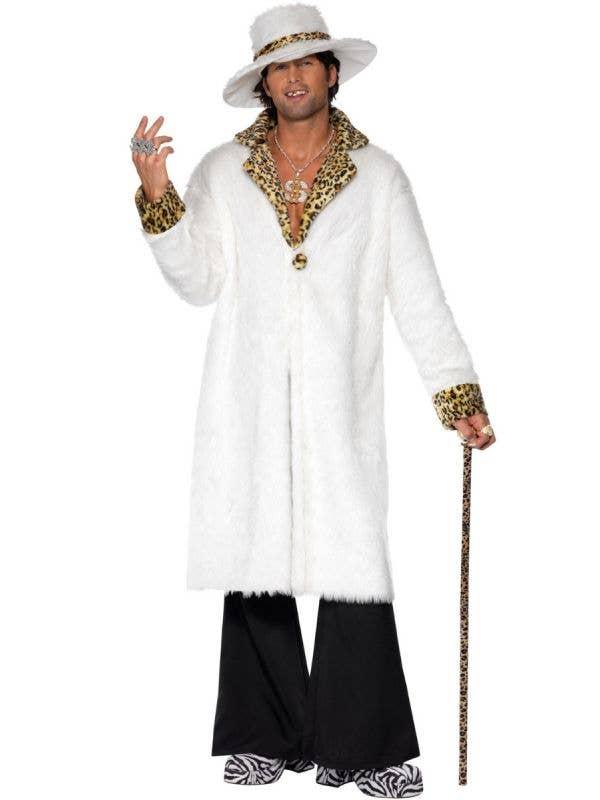 Men's White Fur Pimp Gangsta Costume Main Image