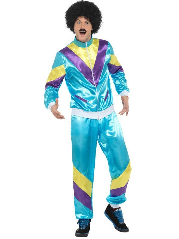 Mens 80s Fashion Blue Tracksuit Fancy Dress Costume - Main Image